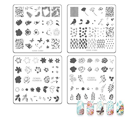CICI&SISI 2018 Nail Art Acrylic Stamping Plates Flowers Set Bird and Butterflies Design Manicure Print Image Plate, set of 4 (Cici And Sisi Halloween)