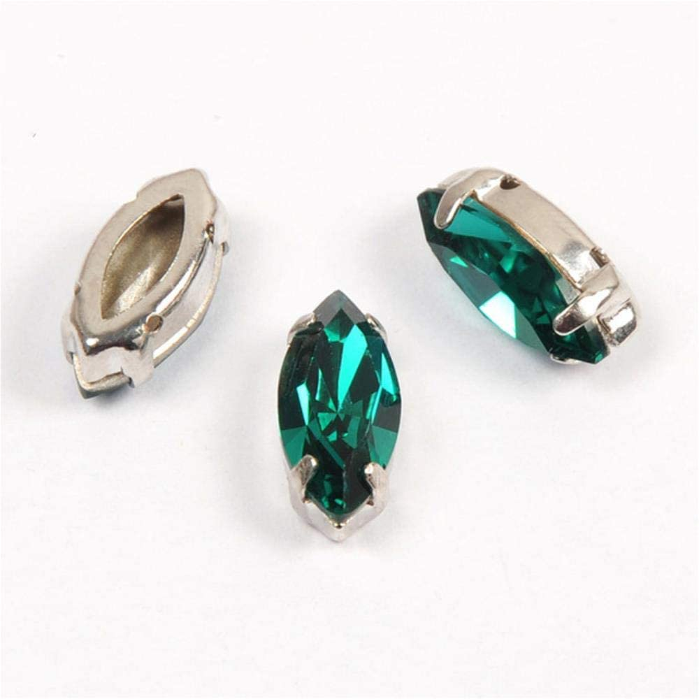 PENVEAT 4200 Diamantes de imitación de Todos los tamaños, circonitas Azules, Cristales de Cristal para decoración 5x10mm 35Pcs with Silver Claw