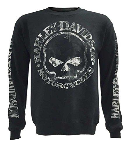 Harley-Davidson Men's Willie G Skull Sweatshirt, Black Crew Neck 30296649 (M)