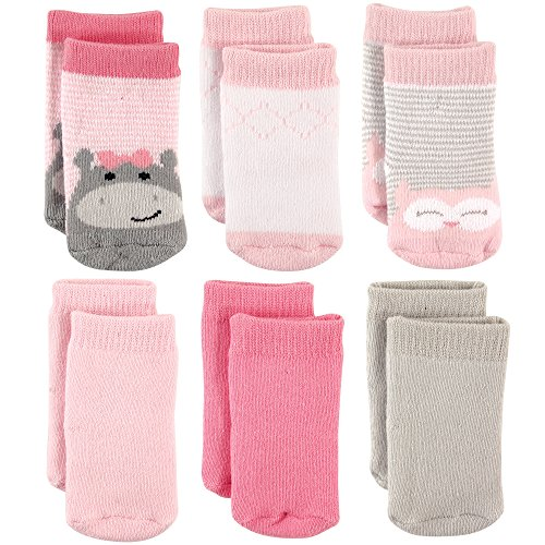 Luvable Friends Baby Basic Socks, Hippo 6Pk, 0-6 Months
