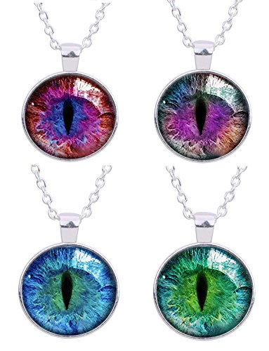 EVELICAL 4PCS Glass Vintage Dragon Cat Eye Pendant Necklace for Men Women Silver (Lady Dragon Glass)