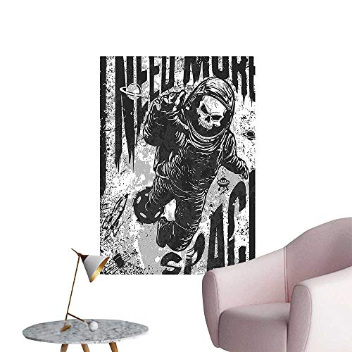 Wall Decals Skull in Spaceman Suit Over Background Dead Spooky Halloween Theme Grey Environmental Protection Vinyl,16