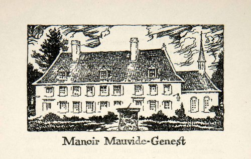 1947 Lithograph Manor Mauvide Genest Quebec Canada Residence Art Iles D'Orleans - Original In-Text - Oakley Quebec