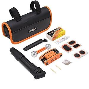 AQQEF Bike Repair Kit, Bicycle Repair Kits Bag With Portable Bike Pump 16 In 1 Bike Multi Tool Kit Sets