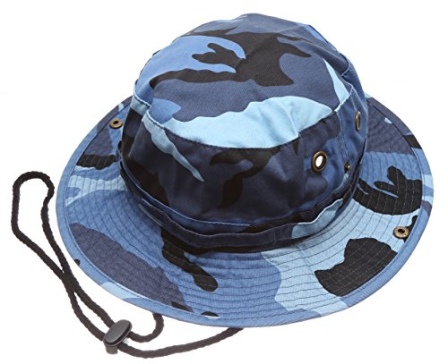 Summer Outdoor Boonie Hunting Fishing Safari Bucket Sun Hat with Adjustable Strap (Blue Sky Camo,LXL)