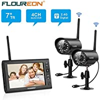 FLOUREON 4CH Digital Wireless 7 LCD Baby Monitor with 2 Pack CCTV Wireless Digtial Cameras Home Surveillance Security System Micro SD Card Motion Detection Audio Video Recorder