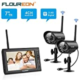 FLOUREON 4CH Digital Wireless 7' LCD Baby Monitor with 2 Pack CCTV Wireless Digtial Cameras Home Surveillance Security System Micro SD Card Motion Detection Audio Video Recorder