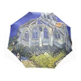 BAIHUISHOP 3 Folding Parasol Sun Protection Anti-UV Sunand Rain Umbrellas van Gogh Church At Auvers Pattern Windproof Tested Compact Ultra slim Travel Umbrella