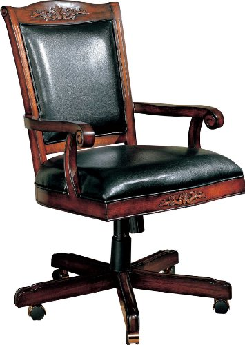 Coaster Traditional Style Office Chair, Black Leather and Cherry Finish ()