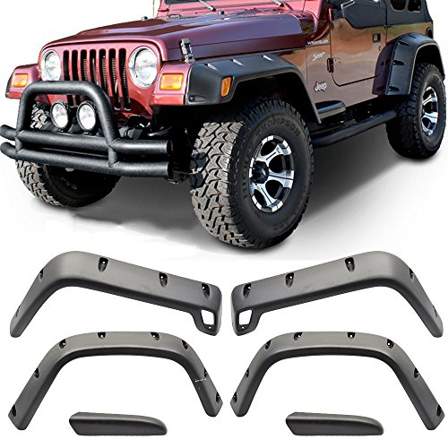 Free-motor For 97-06 Jeep Wrangler TJ 7″ Wide POCKET Style Protector Fender Flares 6PC Set