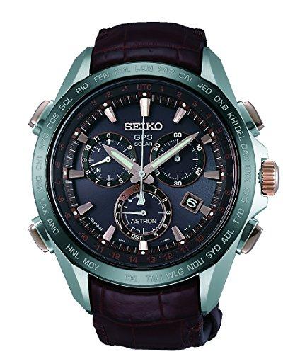 Seiko Astron Solar GPS Brown Dial Titanium Leather Men's Watch SSE025