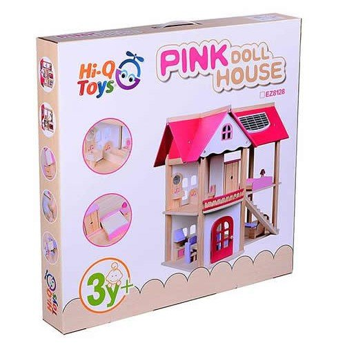 Serra Baby Furnished Wooden Toy Pink Baby Game House Pink Doll House by Serra Baby