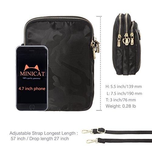 MINICAT Nylon Small Crossbody Bags RFID Blocking Cell Phone Purse For Women (Black-RFID Blocking) by MINICAT (Image #6)