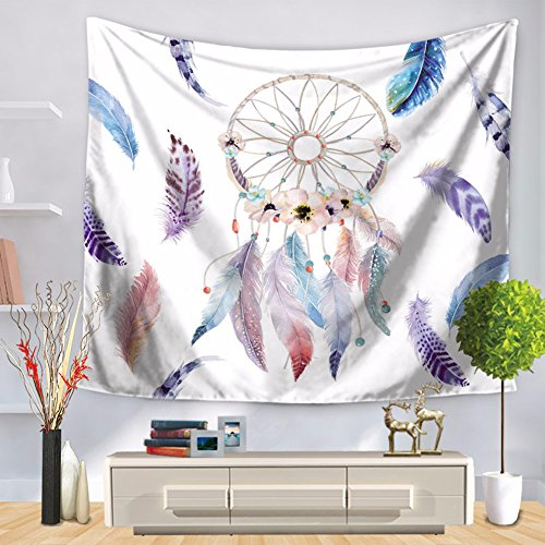 (ChezMax Rectangle Watercolour Dream Catcher Print Tapestries Polyester Fiber Wall Hanging Purple Feather 59.06