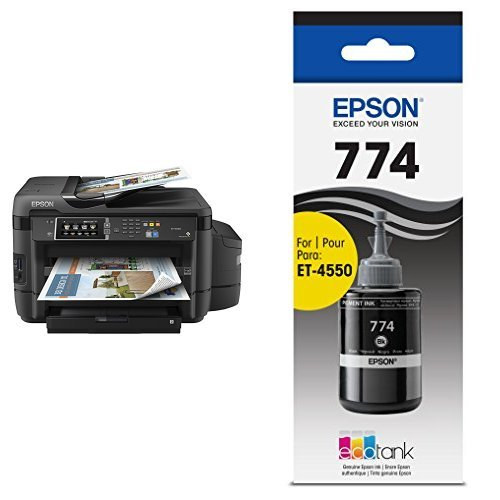 Epson ET-16500 EcoTank Wireless Wide format Color All-in-One Supertank Printer, Scanner, Fax & Ethernet with T774120-S EcoTank Pigment Black Ink Bottle