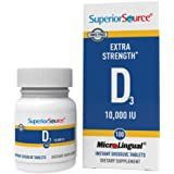 Superior Source Vitamin D3 10,000 IU Sublingual Tablets - Vitamin D Supplement Quick Dissolve Melts - 100 Count