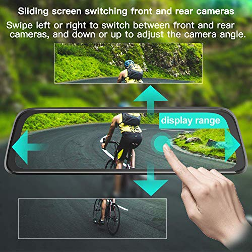 10 Inch Mirror Dash Cam Full Touch Screen, Poaeaon Backup Camera Stream Media, 1080P 170° Front and 1080P 150° Wide Angle Full HD Rear View Camera with G-Sensor, Night Vision (Free 32GB SD Card) by Poaeaon (Image #2)