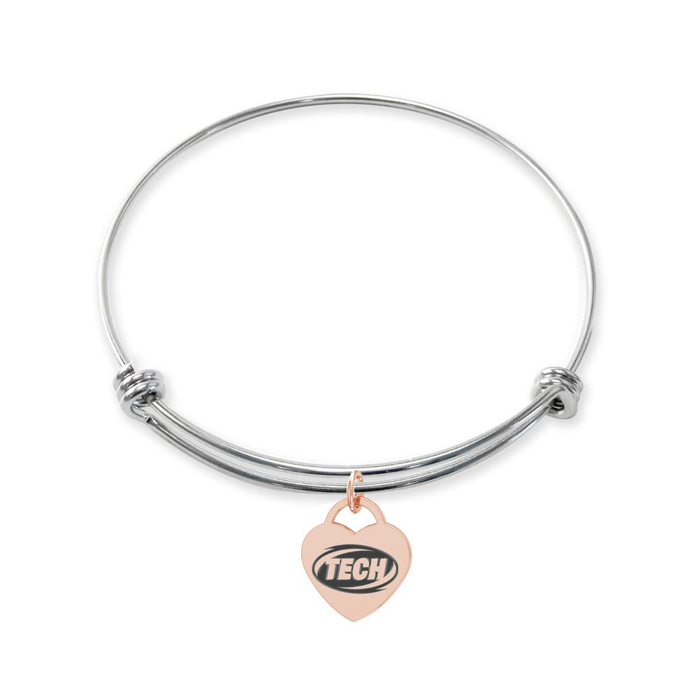 College Jewelry Arkansas Tech Wonder Boys//Golden Suns Stainless Steel Adjustable Bangle Bracelet with Rose Gold Plated Heart Charm