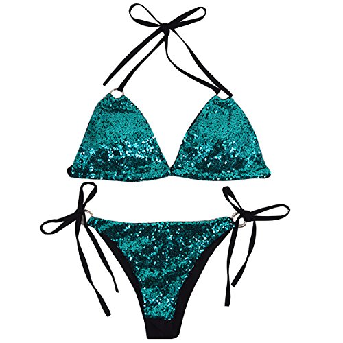 Aisa Women Triangle Bikini Set Sequin Sexy 2 Piece String Golden Ring Glitter Beachwear Green Size Small