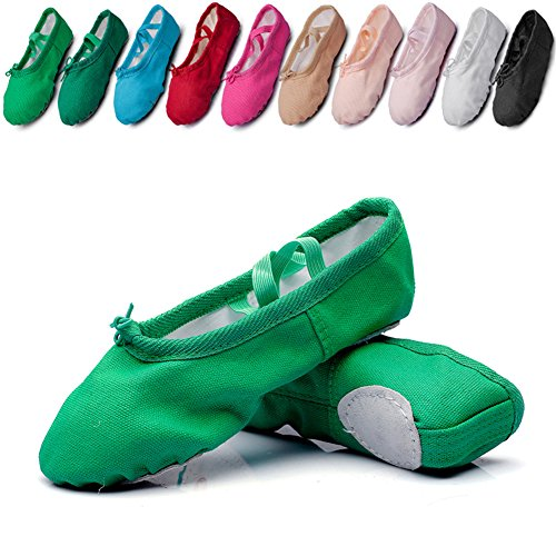 Canvas Kid Ballet Dancing Yoga Performance Flats,Green,Toddler,7M US