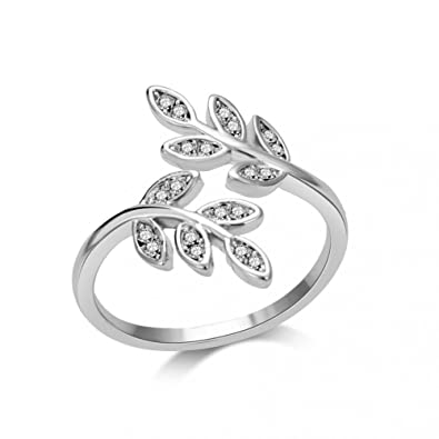 c7063f0be7f43 Philip Jones Silver Leaf Ring with Crystals from Swarovski