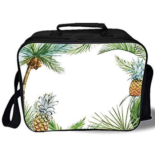 Pine3D Print Insulated Lunch Bag,Watercolor Tropical Island Style Border Print Exotic Fruit Palm Trees and Leaves,for Work/School/Picnic,Multicolor (Barney Water Bottle)