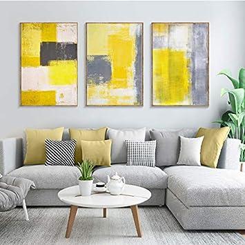 FYSKJDG Pintura de la Lona Pintura al óleo Arte Abstracto Moderno Acuarela Amarilla Carteles e Impresiones Lienzo Pintura Cuadros de Pared para Sala de Estar Decoración Quadro (sin Marco)