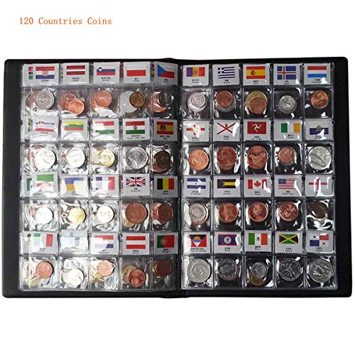 120 Countries Coins Collection Set Fine Coins 100% Original Genuine World Coin with Leather Collecting Album Taged by Country Name and Flag (120 Countries Coins Album)