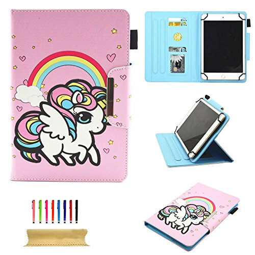 se for All 9.5-10.5 inch Touchscreen Android Tablet, Stand Folio Slim PU Leather Wallet Cover with Card & Pencil Holder for Kindle Samsung Apple ipad Tab,ECT, Rose Rainbow Horse ()