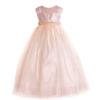 562e066bc9 Amazon.com  Petite Adele Little Girls Ivory Raw Silk Tulle Flower ...