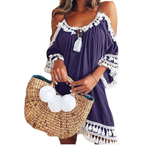 Shoulder Sling Top Out Neck Women Halter Patchwork Coolred Cut Dress Purple Tassel BqFnxWwp