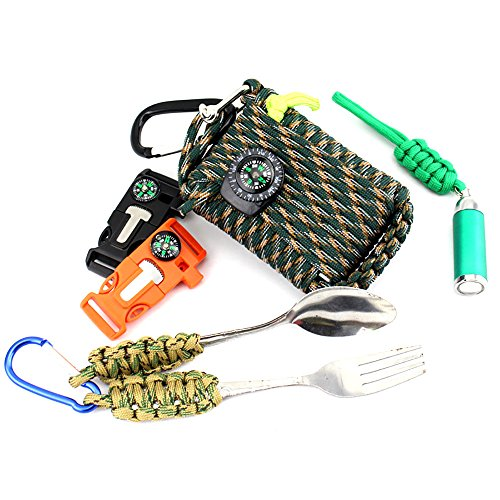 23-Piece-in-1-Emergency-Outdoor-Survival-Kit-Paracord-Rope-550-Grenade-Includes-Compass-Carabiner-Fishing-Kit-Fire-Starter-Whistle-for-Outdoor-Tools-Color-Camouflage