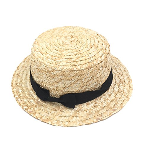 IFSUN Handmade boater Hat Wheat Straw Hard Brim Sun Hats (Hat Boater Straw Mens)