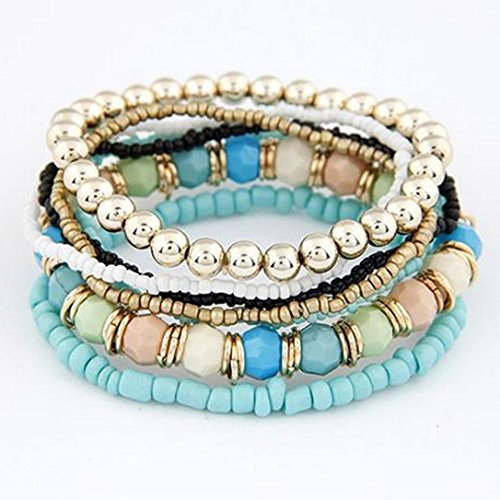 Creazy 1 Set 7pcs Boho Wholesale Multilayer Acrylic Beads Beach Bracelet ()