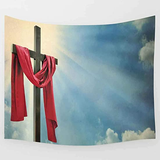 Simsant Cross Tapestry Red Scarf Wall Hanging Freedom Token Wall Blanket 80x60inches 203.2×152.4CM SIGE133