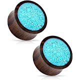 """Crushed Turquoise Organic Wood Saddle Fit Plugs Ear Gauges - Sold As Pair (19mm - 3/4"""")"""