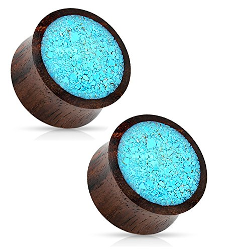 Crushed Turquoise Organic Wood Saddle Fit Plugs Ear Gauges - Sold As Pair (6mm - 2GA)