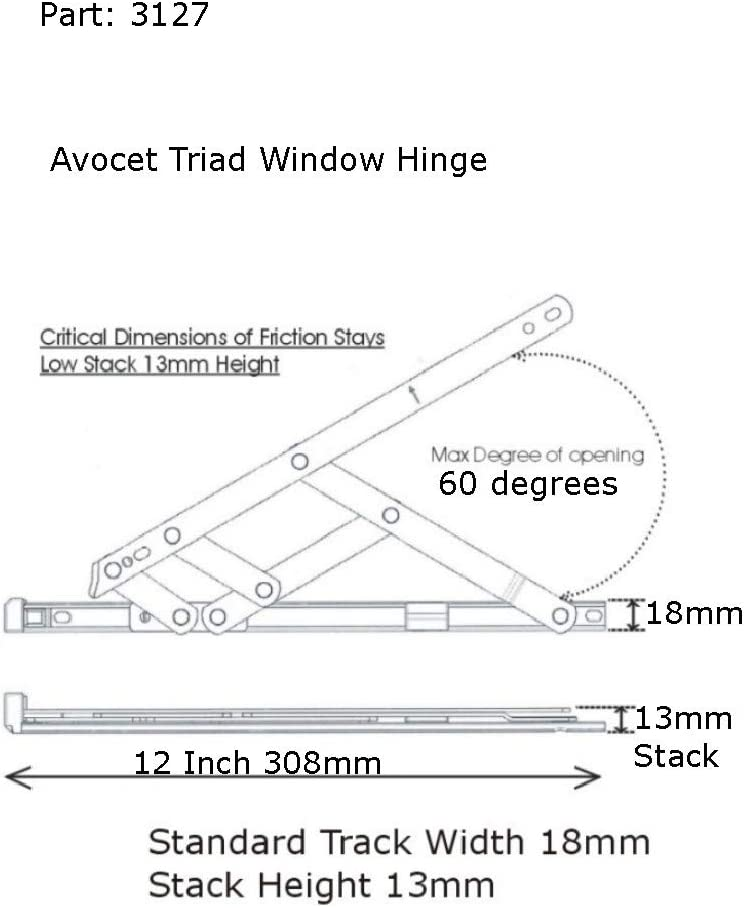 Avocet Triad Friction Stay Window Hinge 8 Inch 201mm Long 13mm Stack