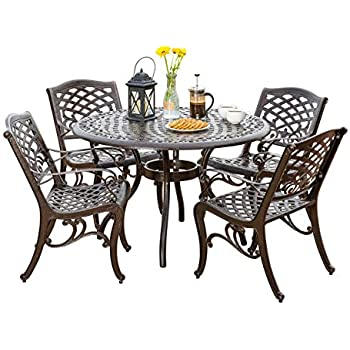cbc4485482a Amazon.com  Statesville 5-Piece Padded Sling Patio Dining Set with ...