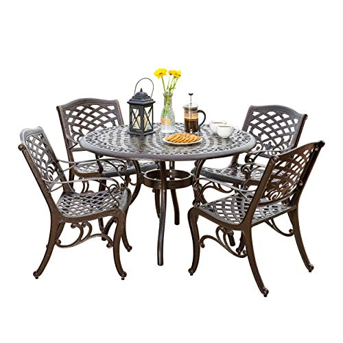 - Hallandale Outdoor Furniture Dining Set, Cast Aluminum Table and Chairs for Patio or Deck (5-Piece Set)
