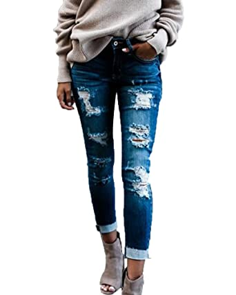 3a1c891a396d Pantalons Crayon Femme Stretch Skinny Jeans Slim Taille Haute Déchirés Denim  Leggings Bleu Clair S