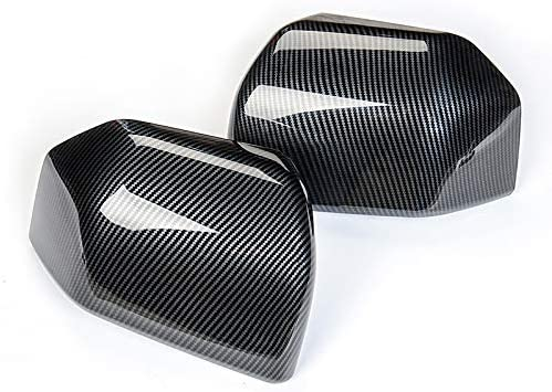 Auto Rearview Mirror Cover Trim Side Mirror Cover Decoration Frame for Ford F150 2015+ Carbon Fiber Grain