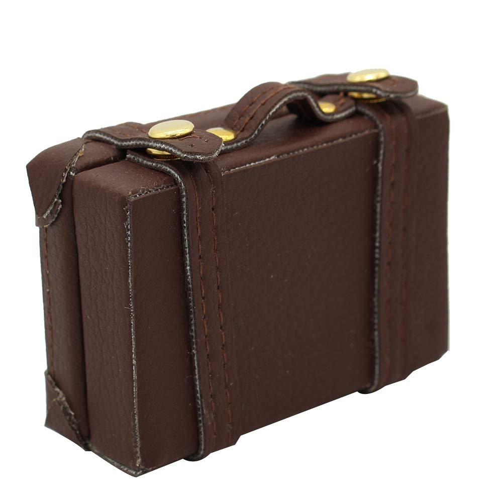 Mini exquisita de equipaje Caja 6 Puntos maletín de transporte Maleta creativas miniatura Cajas maleta para la casa del juguete en miniatura para la casa de Brown