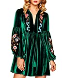 Aofur Women Bohemian Vintage Embroidered Velvet Spring Shift Mini Dress Long Sleeve Casual Tops Blouse (XXXX-Large, Green)