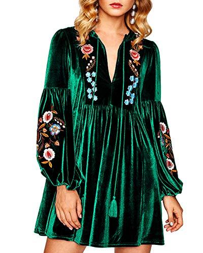 (Aofur Women Bohemian Vintage Embroidered Velvet Spring Shift Mini Dress Long Sleeve Casual Tops Blouse (Medium, Green))