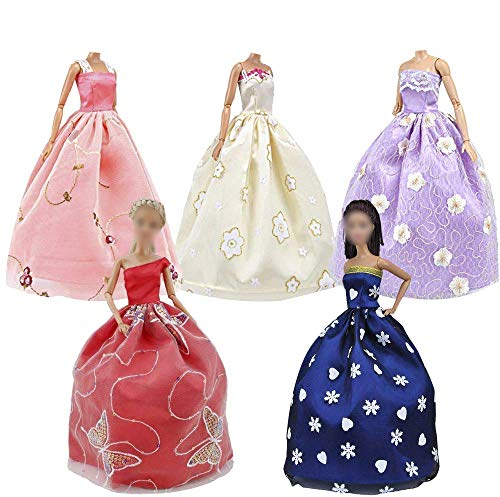 E-TING Lot 15 Artikel,5 Sets Fashion Casual Wear Kleidung Outfit mit 10 Paar Schuhe für Mädchen Puppe Random Style(Kleidung und Hochzeitskleid und Kurzer Rock)(Puppe Nicht Enthalten)