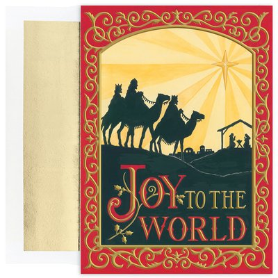 (Masterpiece Holiday Collection 18-Count Christmas Cards with Foil Lined Envelopes, Joy To The World Wisemen)
