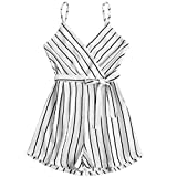 Spbamboo Womens Sleeveless Strappy Short Playsuits Striped Cami Belt Romper Jumpsuit