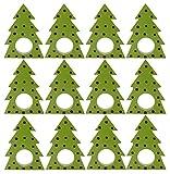 SKAVIJ Wooden Christmas Tree Napkin Rings Set of 12 Round for Wedding Banquet Dinner Decor Favor