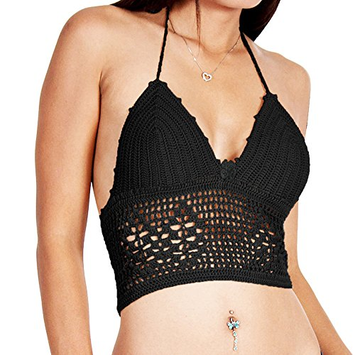 LIZHOUMIL Beachwear Hollow Tank Crochet Bra Cami Vest Strap Crop Tops